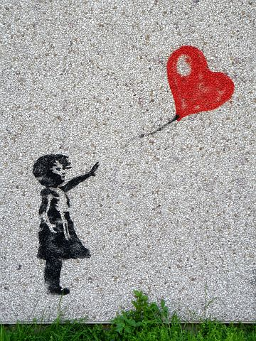 Mural, Girl, Balloon, Child, Heart