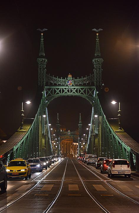 Puente, Budapest, Hungría, Luces, Noche, Danubio, Acero