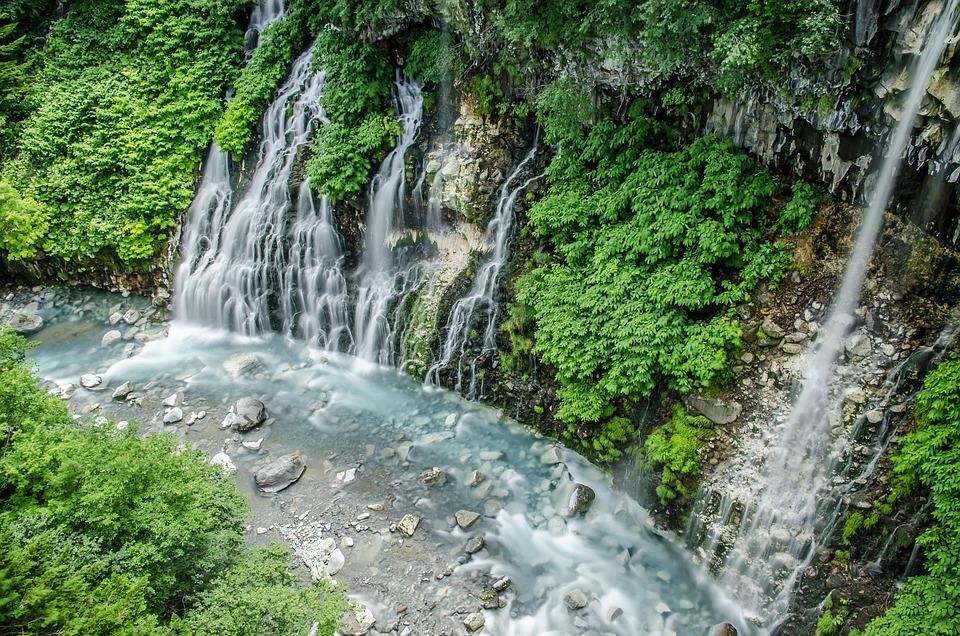 北海道, 滝, 白髭の滝, 緑, 水, 夏, 風景, 川, 迫力, 流れる, 屋外, 休暇, 旅行, 観光地
