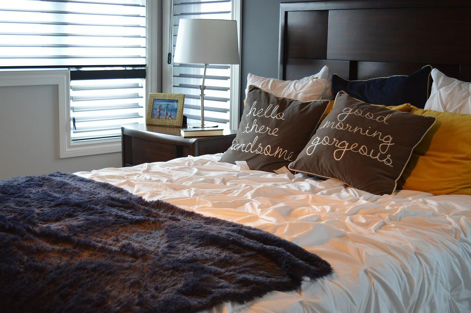 Bed Bedroom Pillows Bedding Home Furniture Room