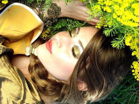 Girl, Sleep, Flowers, Yellow, Beauty