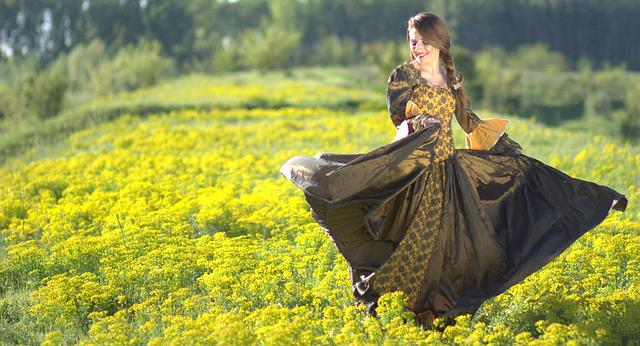 女の子, ダンス, ドレス, 花, プリンセス, 黄色, 美容, 春, 物語