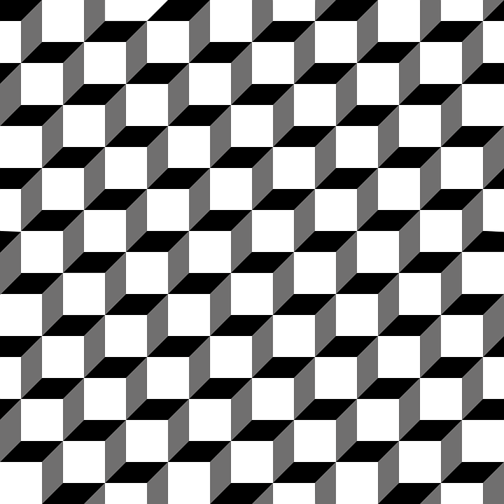 Pattern cube 3d design black white grey