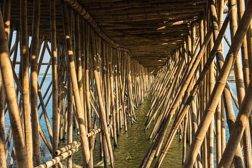 Camboja, Kampong Cham, Bambu, Ponte