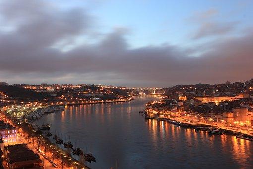 Portogallo, Porto, Fiume, Douro, Serata