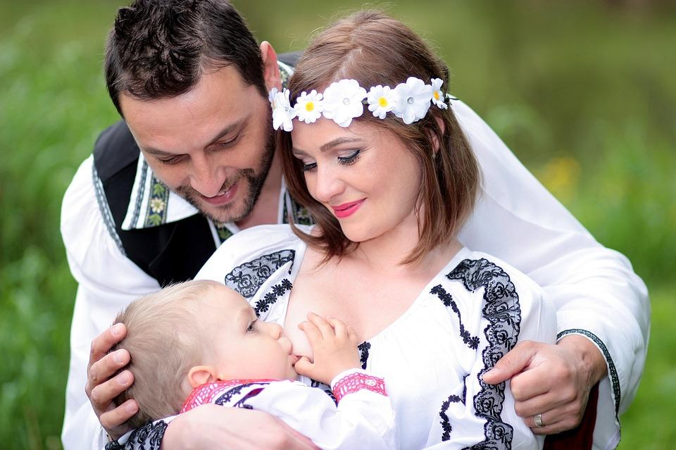 Family Breastfeeding Mom Dad Son Tradition