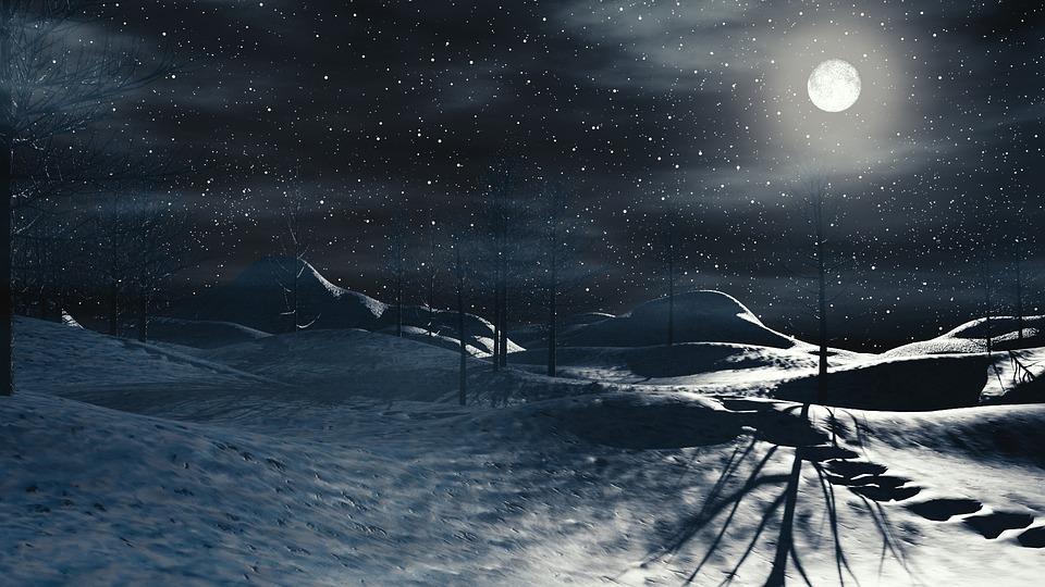 Free Illustration Snow Moon Nature Winter Ice Free