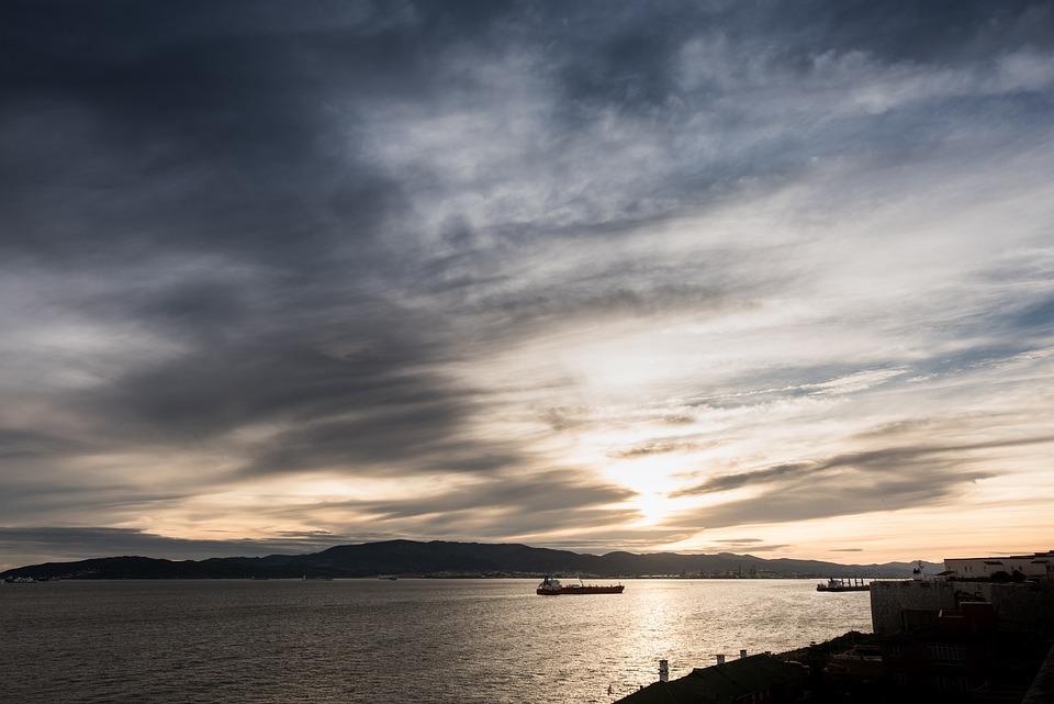 Solnedgang, Gibraltar, Algeciras, Båter, Skip, Himmelen