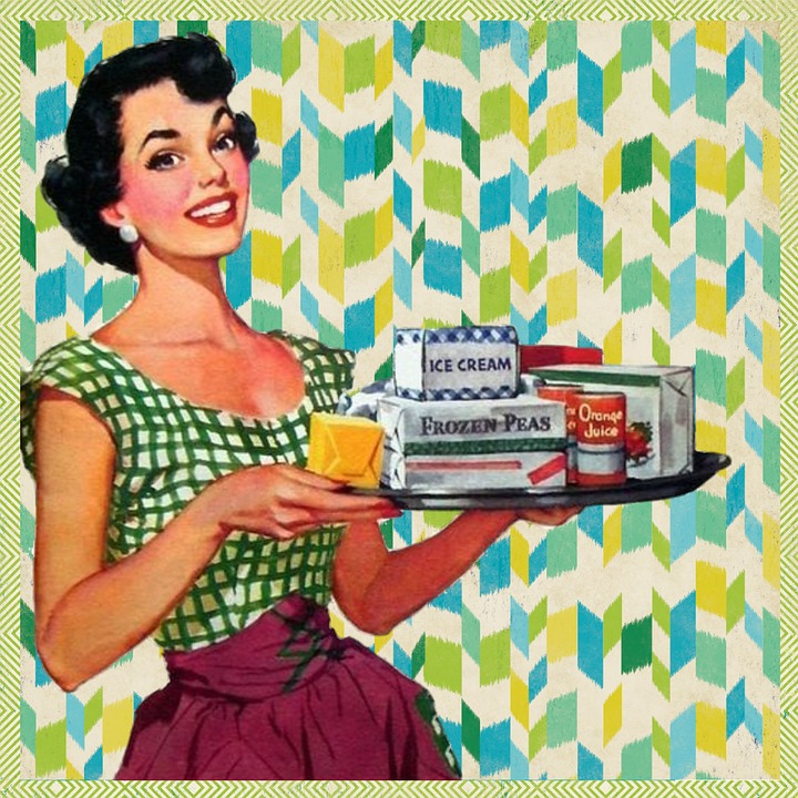 Free illustration retro woman kitchen housewife free for Classic 50s housewife