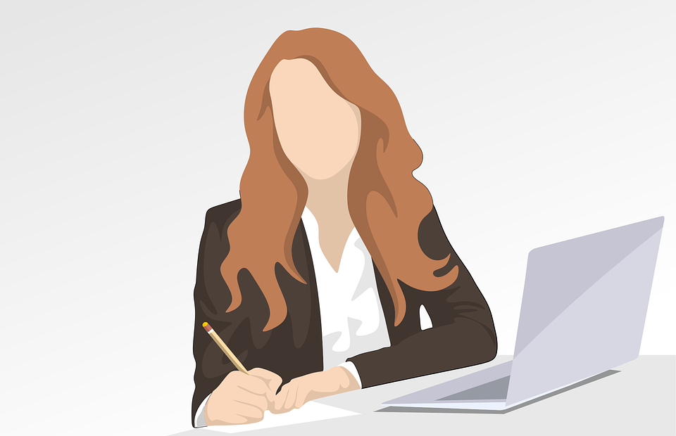 Illustration of businesswoman with a laptop