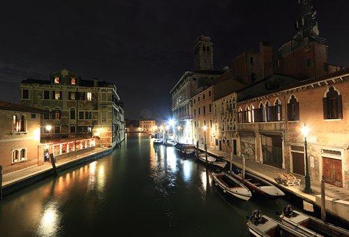 Italy, Venice, Canal, Evening, Moon