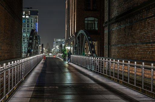 Hamburg, Night, Speicherstadt