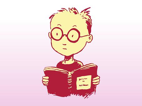 研究, 男孩, 书, 眼镜, 学习, 阅读, 本打开的书, 聪明, 怪胎