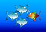 fish, silhouettes