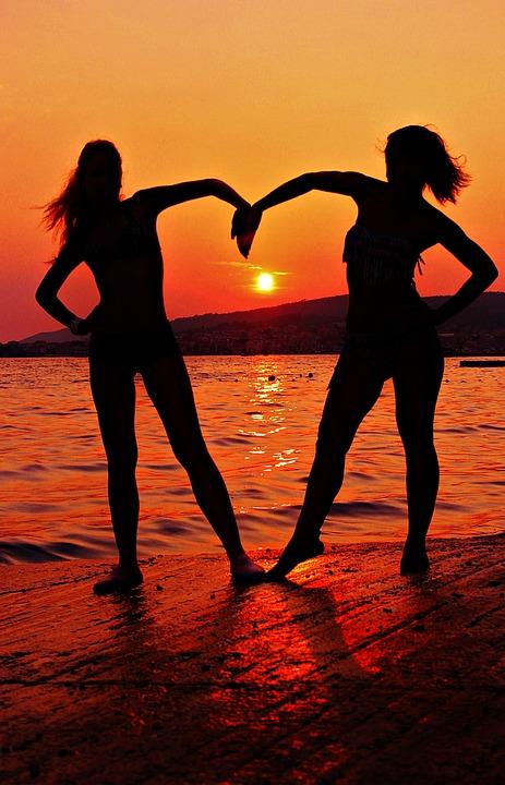Free Photo Girlfriends Silhouette Sunset Free Image