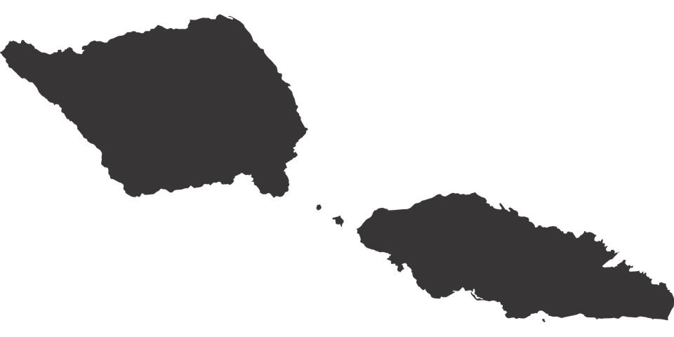 western samoa map silhouette countries