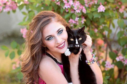 Girl, Cat, Love, Hug, Beauty, Black