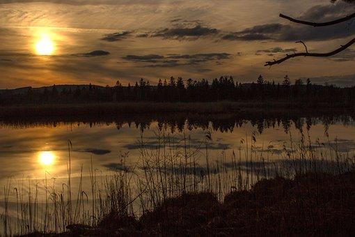 Moor, Sunset, Torfsee, Landscape