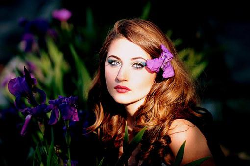 Girl, Mov, Flowers, Iris, Blue Eyes
