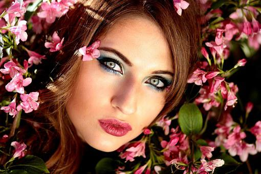 Girl, Flowers, Pink, Blue Eyes, Beauty