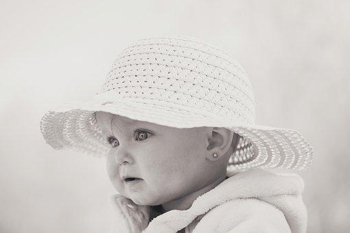 子, 帽子, 黒と白, アウトドア