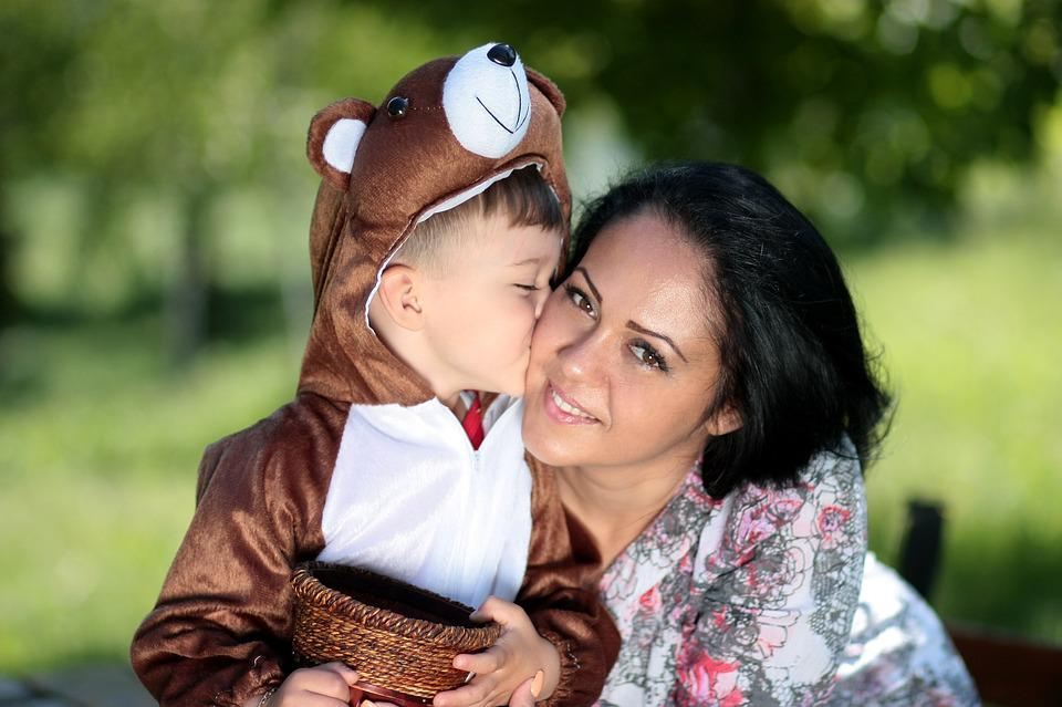 Mom Son Kiss Teddy Bear Love Hug Family