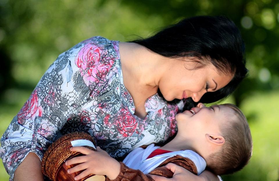 ママ, 息子, テディベア, 愛, 抱擁, 家族