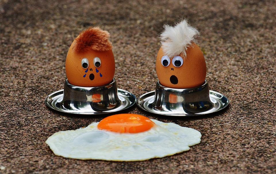 卵、揚げ物、喪、楽しい、面白い、かわいい、食べ物、卵黄