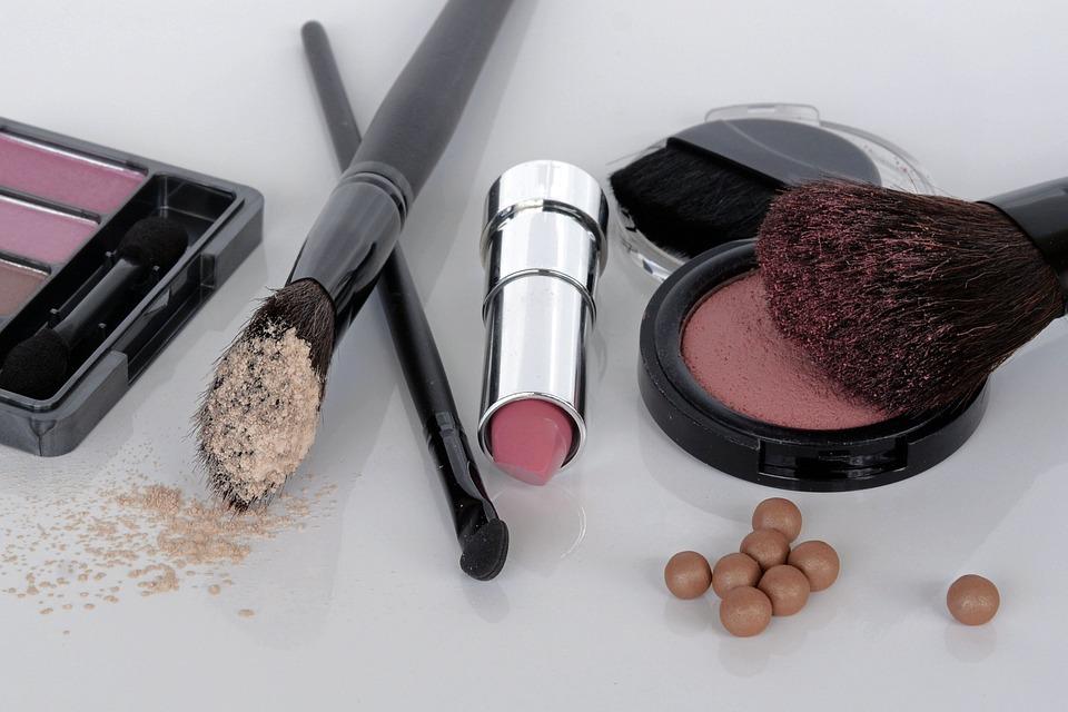 化粧品, アイシャドウ, ルージュ, ブラシ, 口紅, メイクアップ, 美容室, 赤みを帯びた, 頬, 粉末