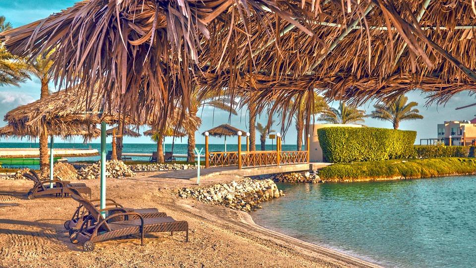 Пляж, Шале, Море, Бахрейн, Курорт Al Bander, Отпуск