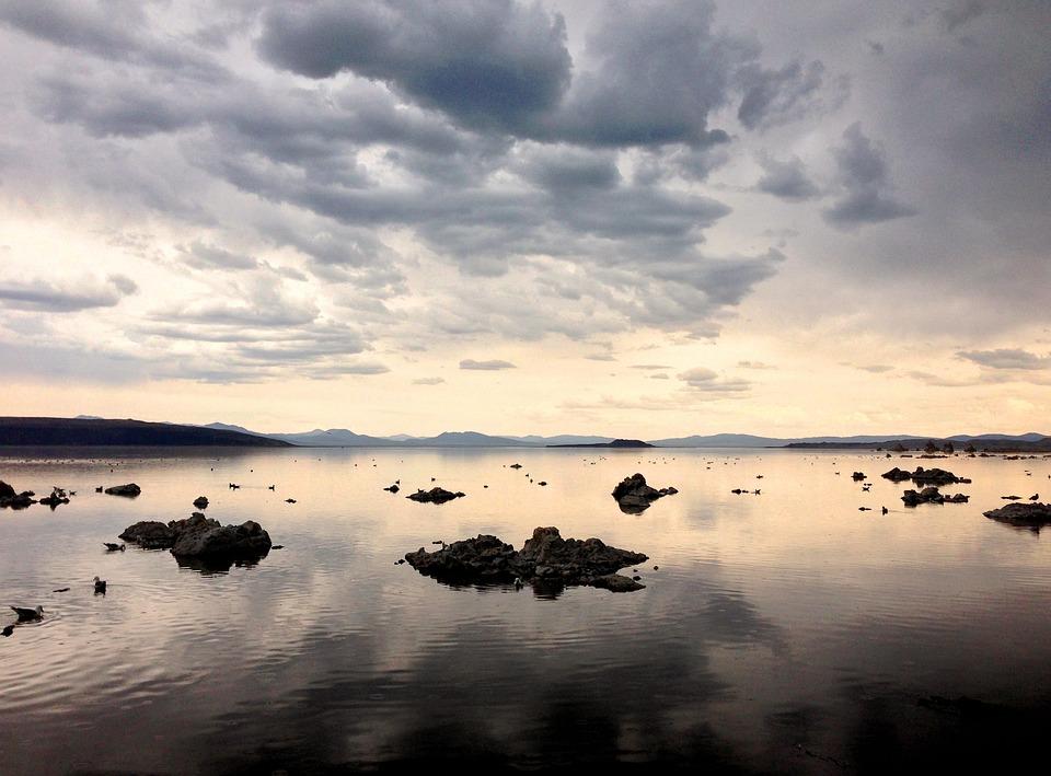 Lago, Reflexión, Lago Mono, Nubes, Naturaleza, Paisaje