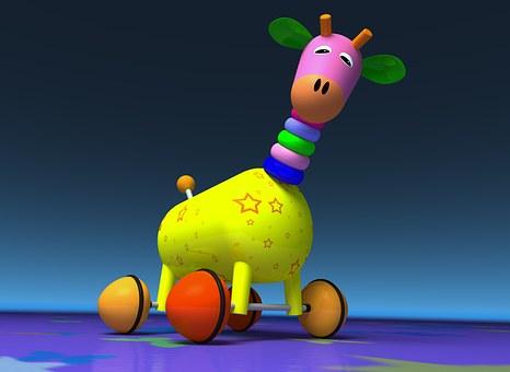Giraffe, Toy, Wheel, Colors, Graphics