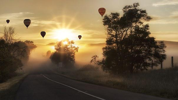 Hot Air Balloons, Road, Fog, Sunrise