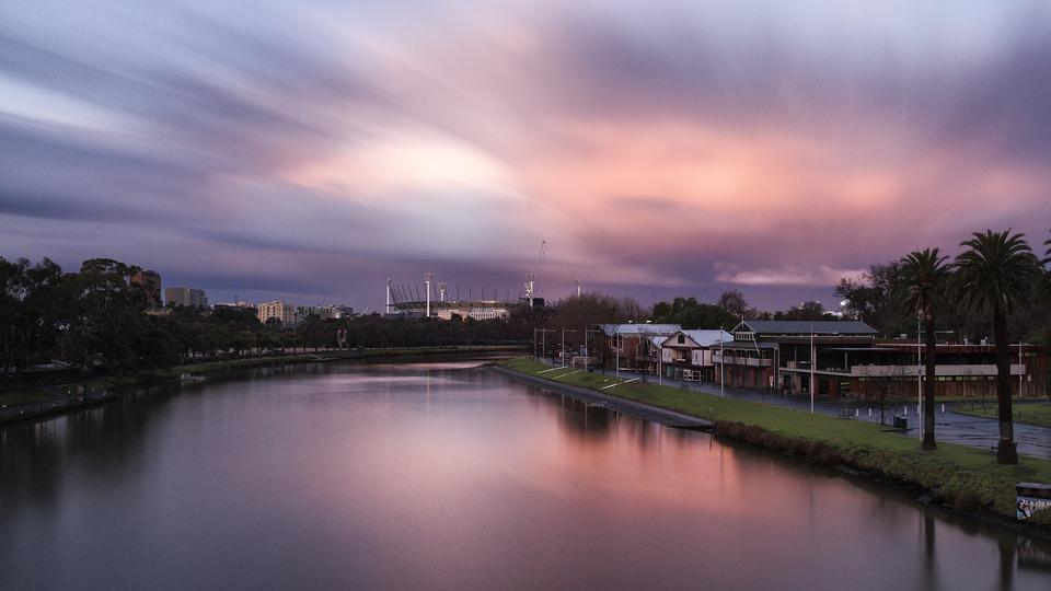 Zachód Słońca, Melbourne, Yarra, Rzeka, Australia