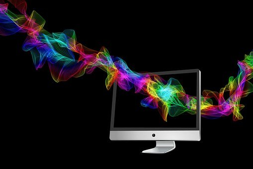 コンピュータ, 監視, 波, カラフルです, 虹, 虹の色, 粒子, 色, 要約