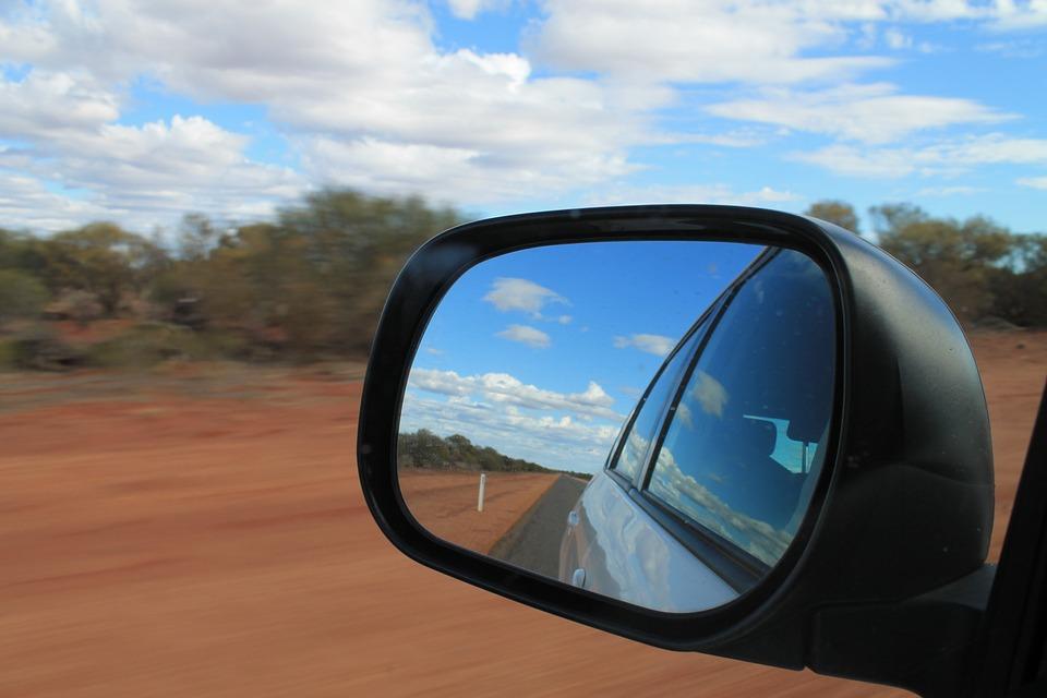 Road Trip, Red Dirt, Western Australia, Car, Mirror