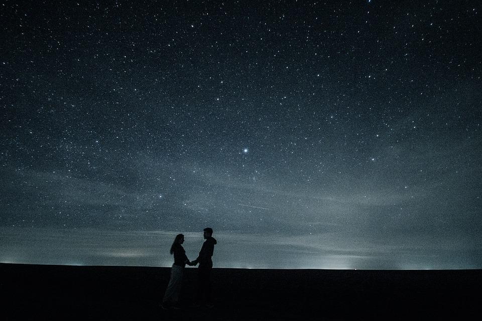 Couple, Love, Stars, Hug, Pair, Romance, Night