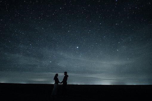 Casal, Amor, Estrelas, Abraço, Par