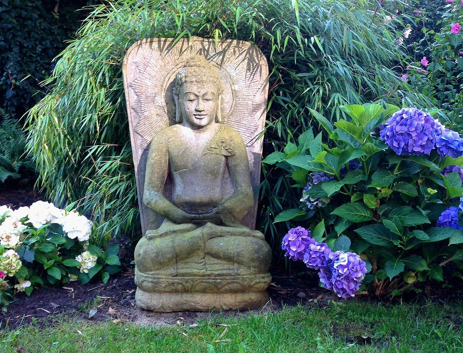 Buddha Garden Sculpture Asia Spiritual Meditation