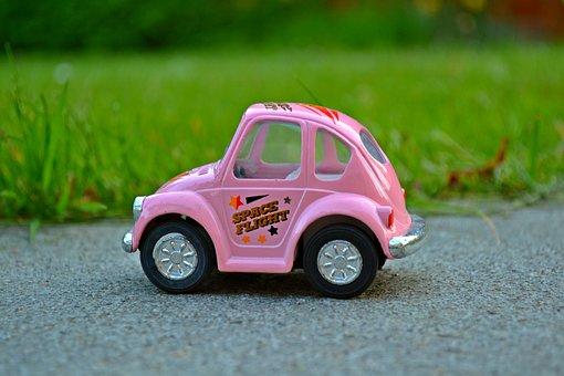 車, ミニチュア, ピンク, ミニカー, 自然, 緑の草, 小さな, プラモデル