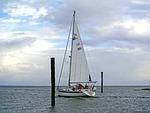 sailing vessel, wadden sea, exit