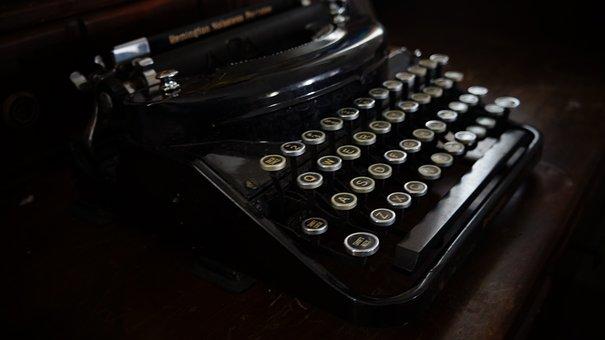 古いタイプライター, 元, レトロ, ヴィンテージ, キーボード, キー