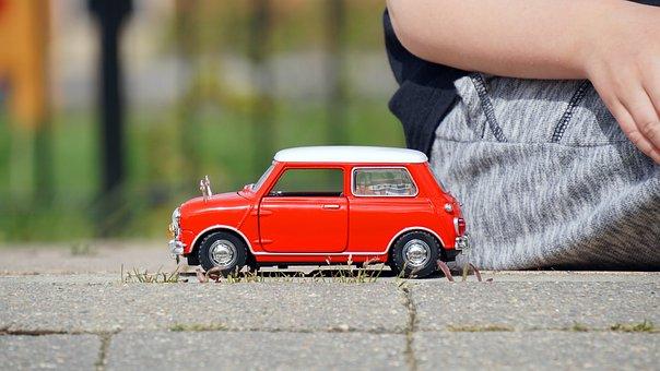 モデル, 車, ミニ クーパー, 赤, 車両, カラフルです, ビンテージ
