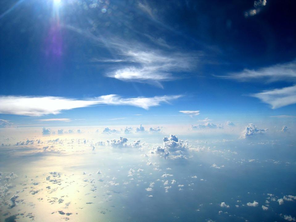 航空写真, 空, 白, 雲, 雰囲気, 天気, 反射, 海