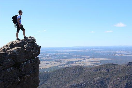 バックパック, 風光明媚な, ハイキング, 自然, 山, バックパッカー, 石