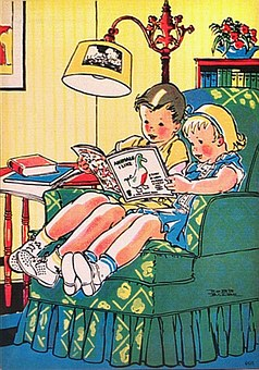 Children, Retro, Reading, 1950S Style