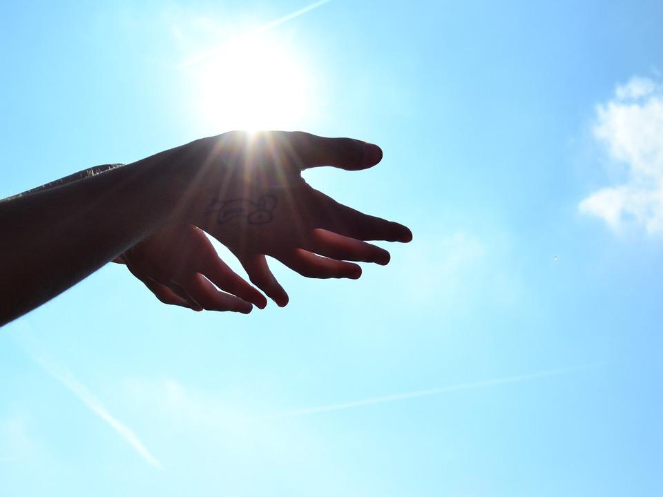 Ръце, Слънце, Небето, Романтика, Ръка, Бог