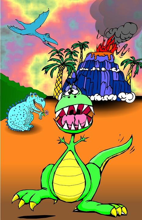 Dinosaurer Vulkan Børn Gratis Billeder På Pixabay