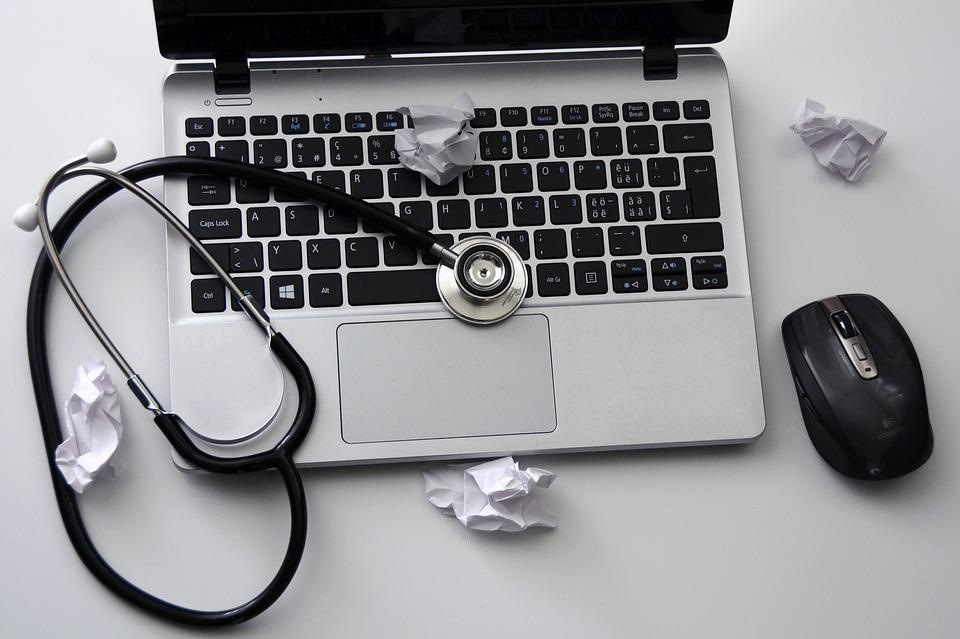 Laptop, Mouse, Stethoscope, Notebook, Keyboard
