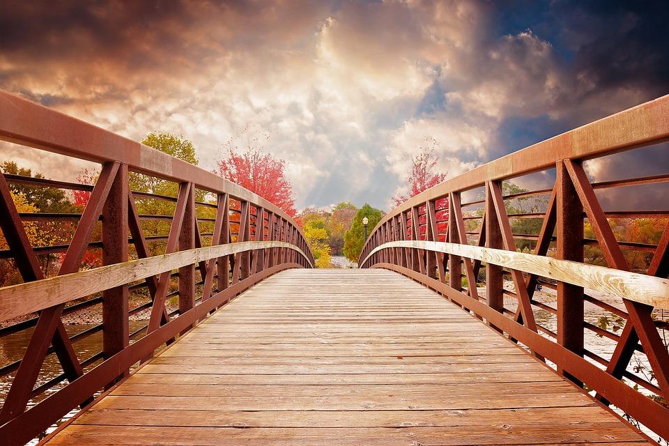 Ponte, Natura, Caduta, Fiume, Serata, Scenico, Autunno